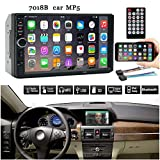 Car Stereo with Bluetooth and Waterproof Backup Camera - 7 Inch Double 2 Din Screen Car HD MP5 Player FM Radio with Wireless Remote Control,Support JPEG,MP3,MP4,WAV,WMA (Black, 7 inch)