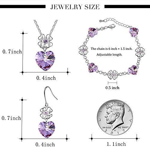 FEDNON Heart Pendant Necklaces Heart Drop Dangel Earrings Bracelet with Violet Australia Crystal Jewelry Sets for Girlfriend by FEDNON (Image #5)