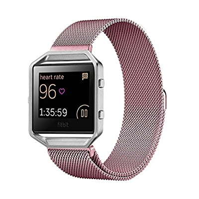 Fitbit Blaze Band Large (6.7-8.1 in), PUGO TOP Milanese Loop Stainless Steel Bracelet Strap Band for Fitbit Blaze Smart Fitness Watch, Large
