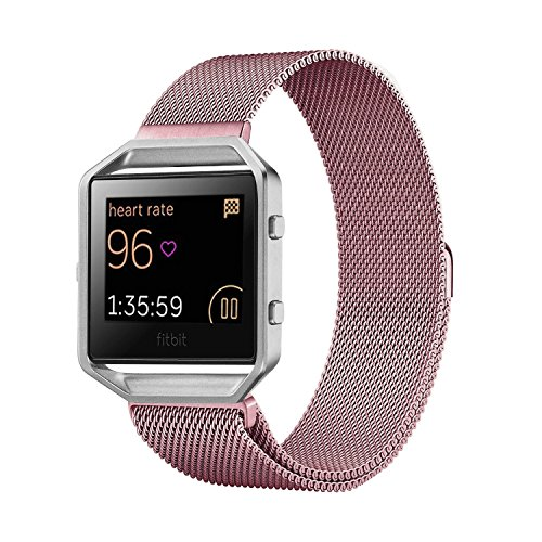 Fitbit Blaze Band Large (6.1-9.3 in), PUGO TOP Milanese Loop Stainless Steel Wristband for Fitbit Blaze Smart Fitness Watch, Large