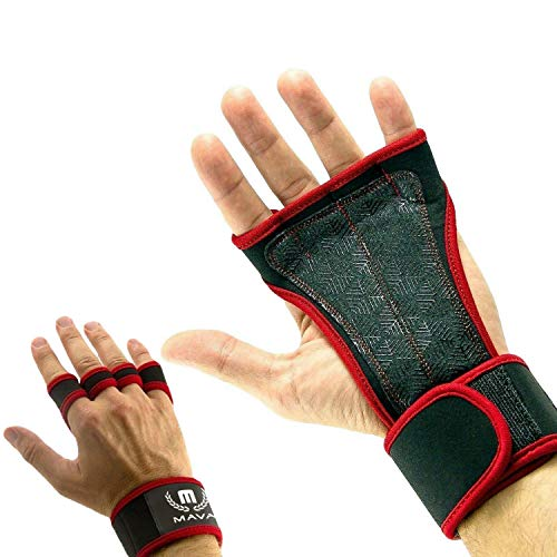 Mava Silicone Padded Gym Workout Gloves - Callus Protector Glove - Hand Wraps - Grips for Gymnastics - Gloves with Wrist Support - No Chalk - Gym Gloves for Both Men & Women