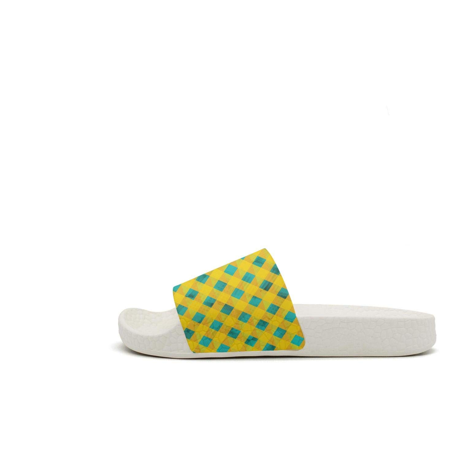 Red square checkerboard Mens Outdoor Home Slides Non-Slip Flip Flop Open Toe Sandals