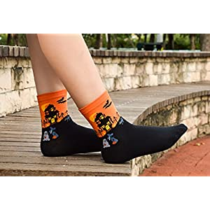 Leotruny Women's Halloween Colorful Cotton Socks 5-pack