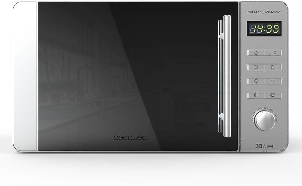 Cecotec ProClean 5120 - Microondas con grill, capacidad 20 L, 700 W, grill 800 W, 8 programas, pantalla LED, color plata