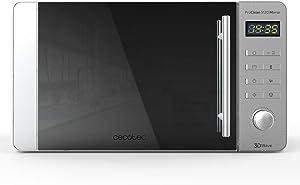 Cecotec Microondas Acero Inoxidable ProClean 5120 con grill Mirror con Revestimiento Ready2Clean para mejor Limpieza,Tecnología 3DWave, 700 W y Grill 800 W. 20l, Diseño Frontal MirrorDoor,8 Programas
