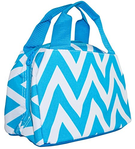 Ever Moda Teal Chevron Insulated Lunch Bag 10-inch