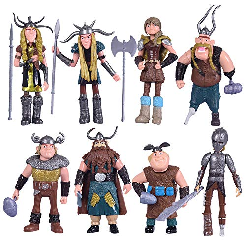 Max Fun Set of 8 Pcs How To Train Your Dragon Action Figures Hiccup Astrid Stoick & Ruffnut Child Toys Xmas Gift Cake toppers by Max Fun