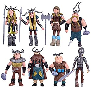Best Epic Trends 51nVx13h0wL._SS300_ Max Fun Set of 8 Pcs HTTYD Action Figures Hiccup Astrid Stoick & Ruffnut Child Toys Xmas Gift Cake toppers