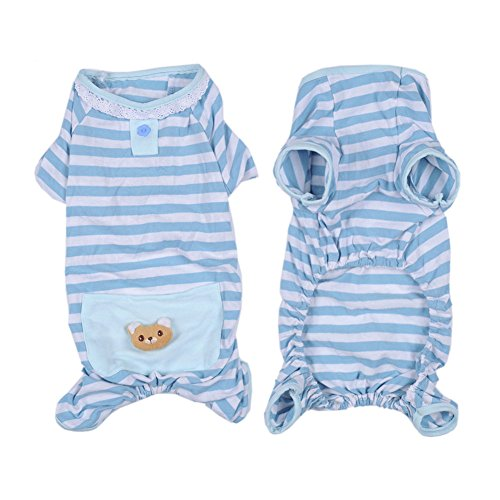 [Pet Dog Cat Pajamas with Stripe and Bear Design, Adorable Winter PJS Coat Jumpsuit for Small and Medium Sized Dog Puppy Cat Kitten,2 Color and 4 Size] (Good Costume Ideas For Two Friends)