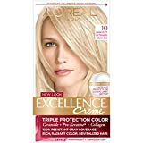L'Oréal Paris Excellence Créme Permanent Hair Color, 10 Lightest Ultimate Blonde (1 Kit) 100% Gray Coverage Hair Dye