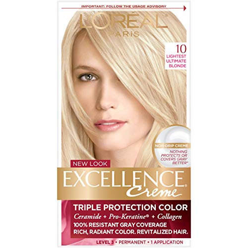 L'Oréal Paris Excellence Créme Permanent Hair Color, 10 Lightest Ultimate Blonde, 1 kit 100% Gray Coverage Hair Dye