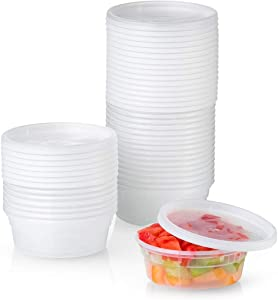 48 Sets Plastic Deli Food Storage Containers with Airtight Lids - 8 oz.