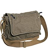 Vagabond Traveler Casual Style Canvas Messenger Bag (Military Green)
