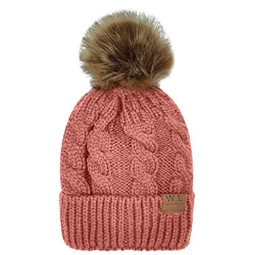Girls Beanie Skull Cap Hat - Whiteleopard Kid Beanie Hats Lining Pom Pom for Children -Slouchy Cable Knit Toddler Skull Hat Baby Ski Cap for Girls Boys (Pink)