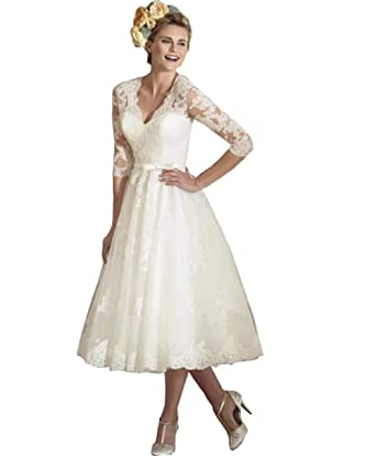 b4c2ee7311e6 Dreagel Elegant Mid Calf Wedding Dresses Half Sleeve Vintage Bridal Gowns  2018 at Amazon Women's Clothing store:
