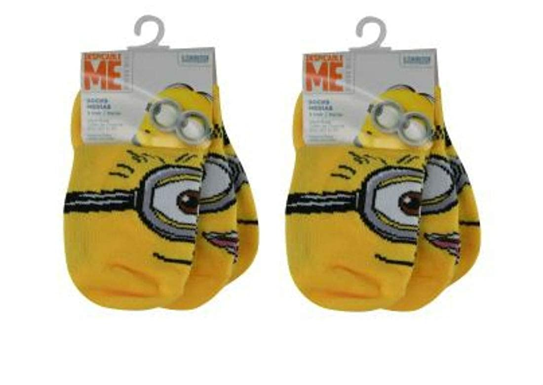 Despicable Me Minion 6 pack Boys No Shows Socks (Shoe Size 9-3 / EU 26-35)