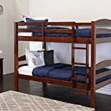 Walker Edison AZWSTOTES Wesley Wood Bunk Bed, Twin, Espresso