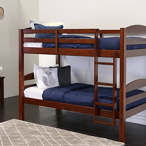 Walker Edison Solid Wood Twin Bunk Bed, Espresso