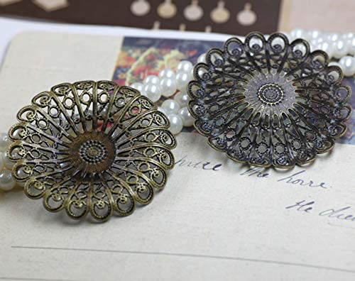 Calvas Flower Disk Filigree Charms/Pendant Copper with Antique Bronze/Rose Gold/Silver/Black Handmade,Hairpin Parts Vintage Jewelry - (Item Diameter: Rose Gold 50pcs)