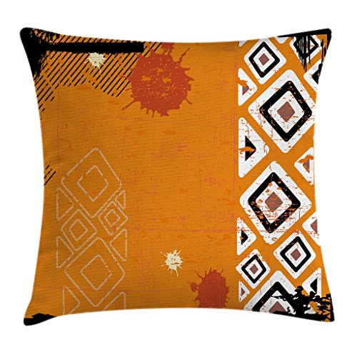 Ambesonne Tribal Throw Pillow Cushion Cover, Ethnic African Design with Bold Lines Geometric Triangles Artwork Image, Decorative Square Accent Pillow Case, 18 X 18 Inches, Black Orange and White