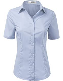 2b4c5aab1f4 Doublju Womens Basic Slim Fit Simple Short Sleeve Button Down Shirt with  Plus Size