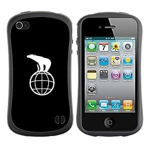 LASTONE PHONE CASE / Suave Silicona Caso Carcasa de Caucho Funda para Apple Iphone 4 / 4S / save the Polar Bear
