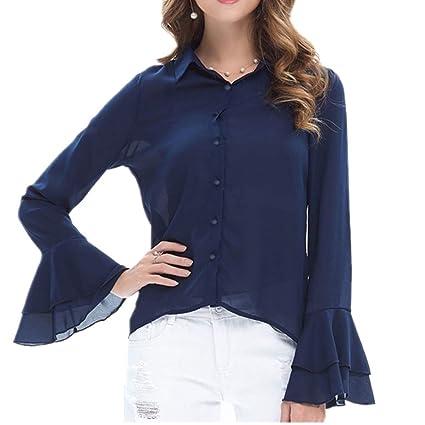 Oudan Camisa de Manga Larga de Verano Blusa para Mujer Blusas de Solapa de Moda Camisas