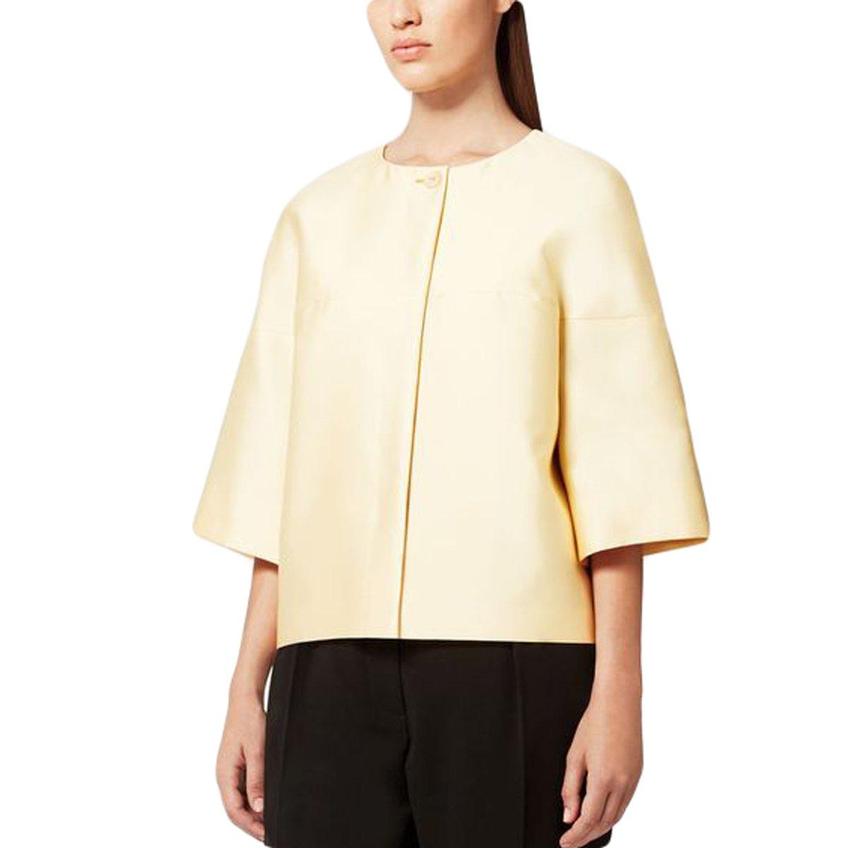 MaxMara Women's Torre Short Sleeve Crewneck Jacket Sz 12 Yellow