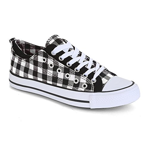 Twisted Women's Double-Up Two Tone Canvas Fashion Sneaker - BLACK PLAID, Size 6.5