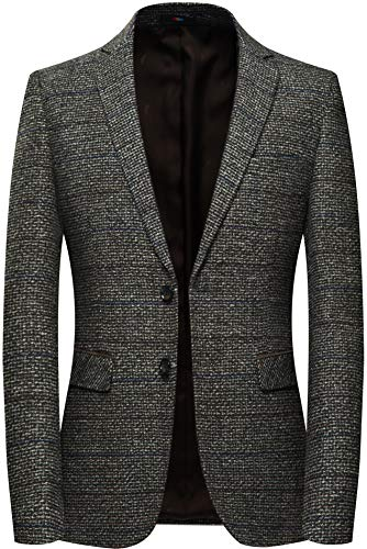 Coat Fully Tweed Lined (Casual Tweed Blazer Men Elbow Patch Plaid Wool Sports Coat Regular Fit (Brown,2XL))
