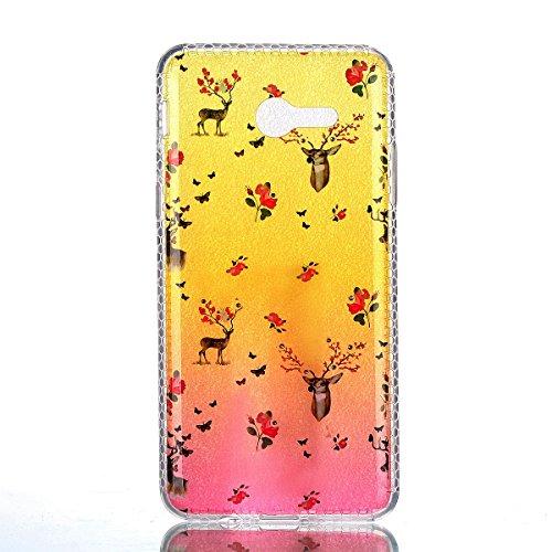 Silicona Funda Samsung Galaxy J3(2017)(con Lápiz óptico Negro),KaseHom Brillante Diamante Stylish Diseño Oro y Rojo Patrón de Combinación Caja Suave + Flexible TPU Gel Silicone Bumper Shock-Absorción  Ciervo y Flor Rosada