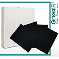 GreenR3 Air Purifier True HEPA Air Filter + 4 Replacement Carbon Filters for Winix 115115 fits 5300 6300 5300-2 6300-2 P300 C535 5000b 5000 5500 9000 Plasma Wave WAC5300 WAC5500 WAC6300 and more
