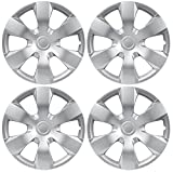 "BDK Toyota Camry Style Hubcaps Cover, 16"" Inch Silver Replica Wheel Hub Cap Covers, OEM Factory Replacement (4 Pieces Set)"