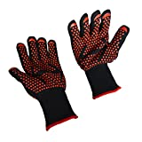 BBQ Grilling Cooking Gloves, Fredhome 932°F Heat Resistant Grill Oven Mitts Safety Gloves – 1 Pair 14 Inch for Extra Forearm Protection with Free Pot Holder (Black/Red) Review
