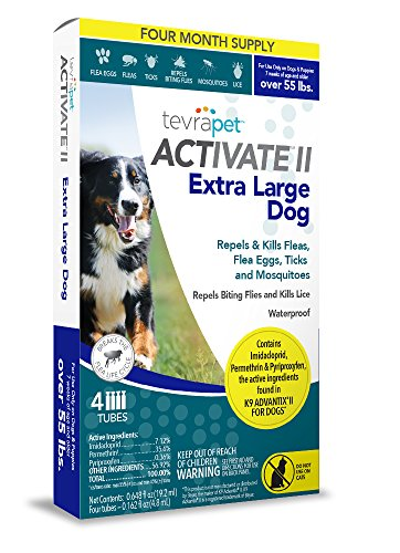 TevraPet Activate II Flea and Tick Topical, Extra Large Dogs 55 Plus Pounds, 4 - Advantix Plus K9