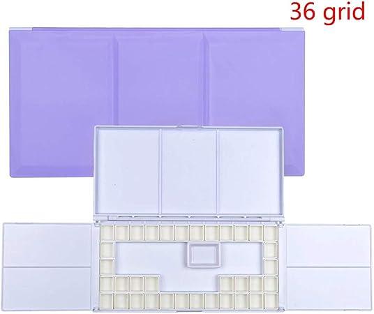 LNIMIKIY paleta de pintura 36 cuadrícula caja de almacenamiento arte suministros de pintura profesional agujero de dedo plástico acuarela caso bandeja plegable artista vacío, As Picture Show, Tamaño libre: Amazon.es: Hogar