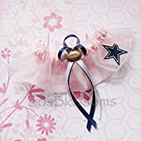 Customizable - Dallas Cowboys fabric handmade into bridal prom pink organza wedding keepsake garter with football charm