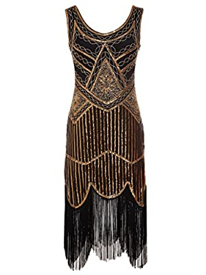 FAIRY COUPLE 1920S Sequined Beaded Tassels Hem Gatsby Flapper Dress D20S001