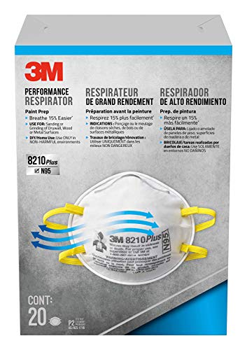 : 3M 8210 Plus Paint Sanding Dust Particulate Respirators, N95, 20-Pack