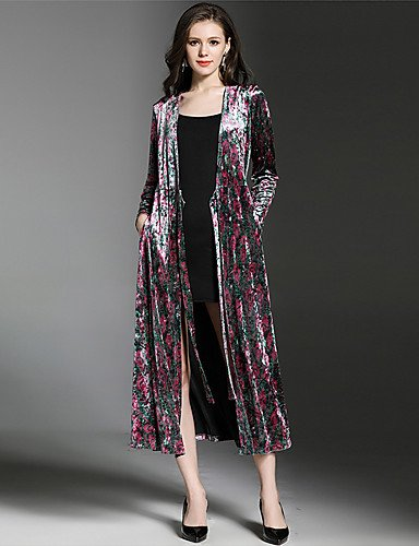 Red Large Xuanku SUOQI Women's Going out Casual Daily Simple Fall Winter Trench Coat,Print V Neck Long Sleeve Long Polyester Nylon