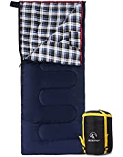 """REDCAMP Cotton Flannel Sleeping Bags for Camping, 41F/5C 3-4 Season Warm and Comfortable, Envelope Blue with 2/3/4lbs Filling (75""""x33"""")"""