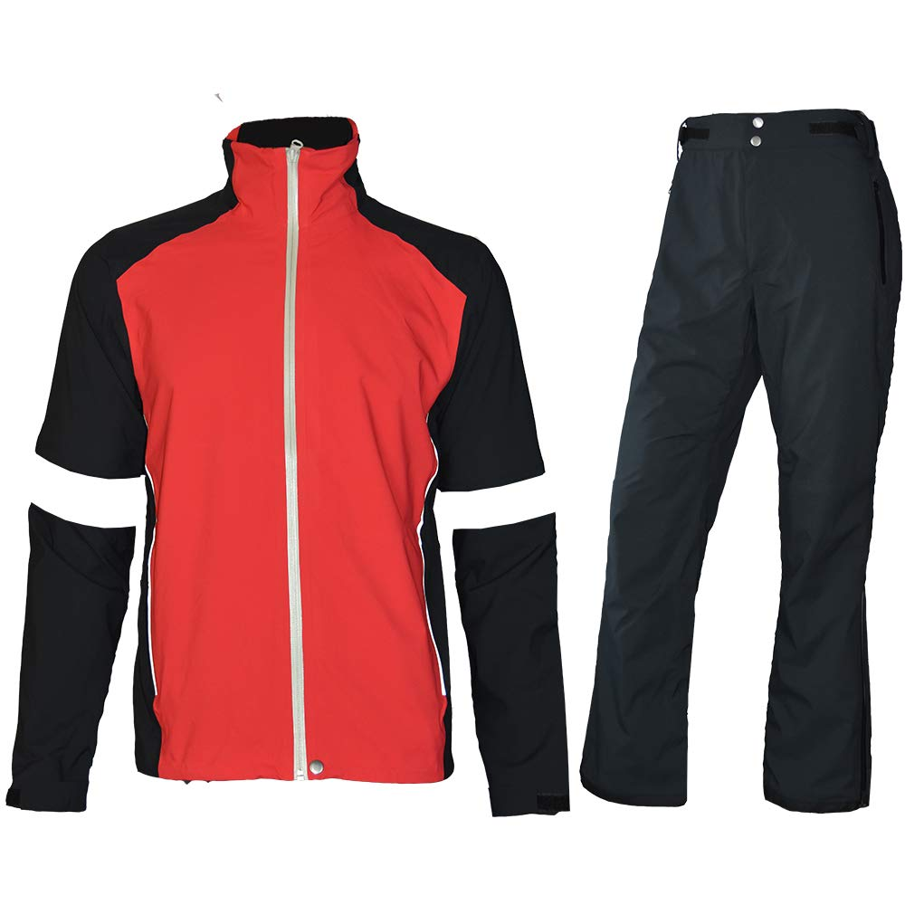 fit space Men's Waterproof Golf Jacket and Pants for All Sports Rain Suit (Red Full-Zip, Large) by fit space