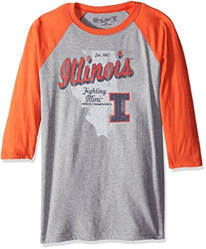(NCAA Illinois Illini Men's 3/4 Baseball Tee, Large, Heather/Orange)