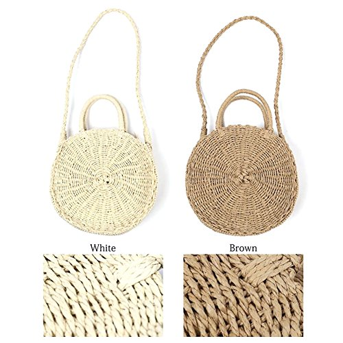 Beach Handbag Shoulder for Bag Bohemian Straw White Woven Round Bag Retro cheerfulus Women Crossbody Bag Summer Handmade xqpYnI