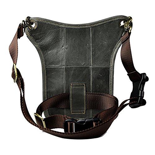 Genda 2Archer los hombres bolsa de cuero, Correa de la Pierna, Bolso de la Cintura, Bolso de Hombro (Negro) Gris Oscuro