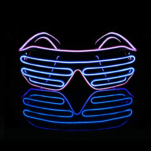 Light up LED Neon Glasses, EL-Aurora Flashing Glowing Shutter Sunglasses for Party Decoration (Blue and Purple)]()