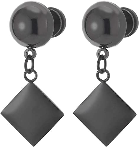 carbon fiber inlay stud stainless s ZC Jewelry men/'s and ladies earrings 8 mm