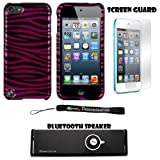 Pink and Black Zebra 2 piece Cover Shield Protector Case For Apple iPod Touch 5 ( 5th Generation) 32GB, 64GB + Anti Glare Screen Protector Guard + Supertooth Disco Bluetooth Speaker with AUX Cable + an eBigValue Determination Hand Strap