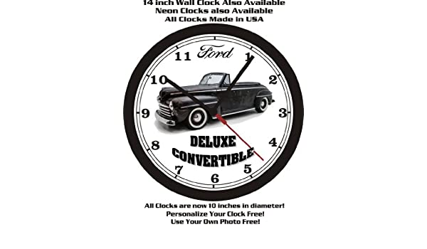 Amazon.com: 1947 FORD DELUXE CONVERTIBLE WALL CLOCK-FREE USA SHIP: Home & Kitchen