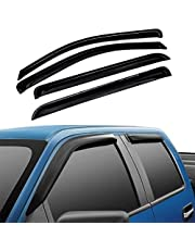 Atomsonic WV_15_F150_supercrew Black Sun/Rain Guard Vent Shade Window Visors Wind Deflector for 2015-2018 Ford F150 Tape-On Wind Deflector 4pc
